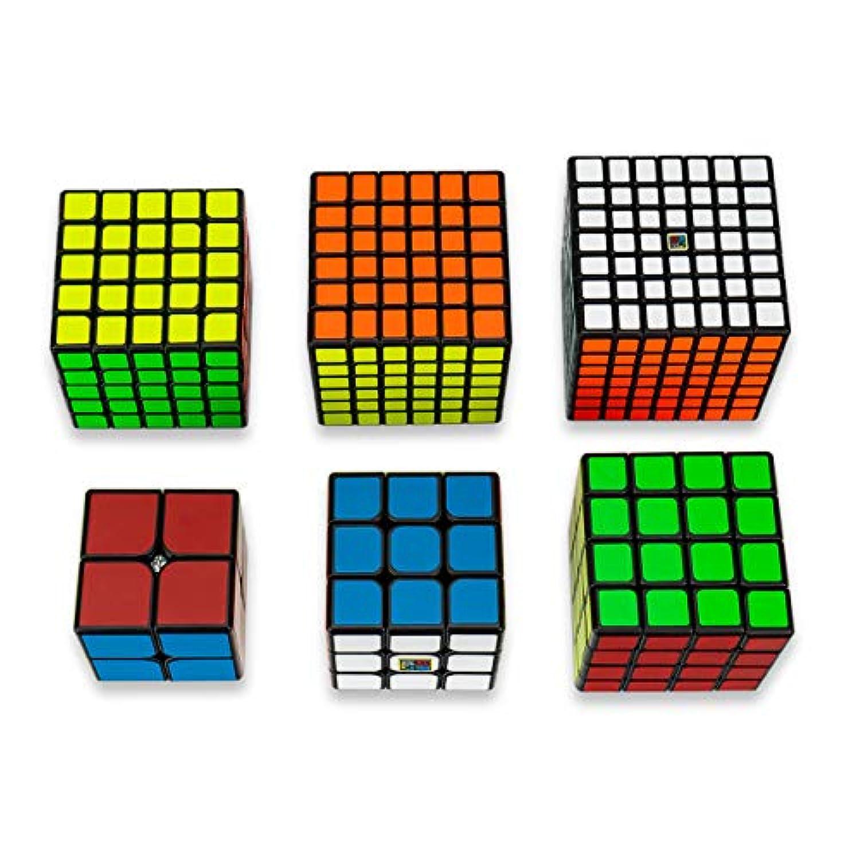 Findbetter スピードキューブ セット 競技用 2x2 3x3x3 4x4x4 5x5x5 6x6x6 7x7x7 六個セット スタンド*6付 豪華ギフト包装済み 黒素体 世界基準六色 こども 脳トレ 知育玩具