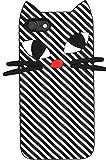 PLATA iPhone7 4.7インチ 用 しましま ねこ ネコ ソフト シリコン ケース カバー iPhone アイフォン 7 【 ブラック 黒 くろ black 】 IP7-4026BK