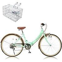 RayChell(レイチェル) 26インチ 折りたたみ自転車 R-321N (カゴ付き) シマノ6段変速 ノーパンクタイヤ グリップシフト フロントライト付 グリーンxブラウン [メーカー保証1年]