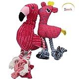 フラミンゴサウンドインタラクティブトイ、犬 おもちゃ 知育 音の鳴る 鳴る 噛む 丈夫な犬のおもちゃ ペット用品 ピンク