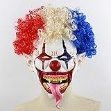 Xigeapg 爆発的な頭の口の長い舌のピエロかわいい禿げたピエロ変異のバットの爆笑恐怖の赤い帽子炎のピエロハロウィーンの部屋エスケープバーのダンスの小道具ラテックスホラーゴースト恐ろしいマスクA