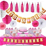 Baby Shower Decorations- The Complete Set with Tablecloth- it's a Girls- with Two Banners- Elegant Paper Fans with Beautiful Honeycomb Balls and Tassels- by TeeMoo [並行輸入品]