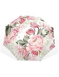 AOMOKI 折り畳み傘 折りたたみ傘 手開き 日傘 三つ折り 梅雨対策 晴雨兼用 UVカット 耐強風 8本骨 男女兼用 牡丹 ピンク