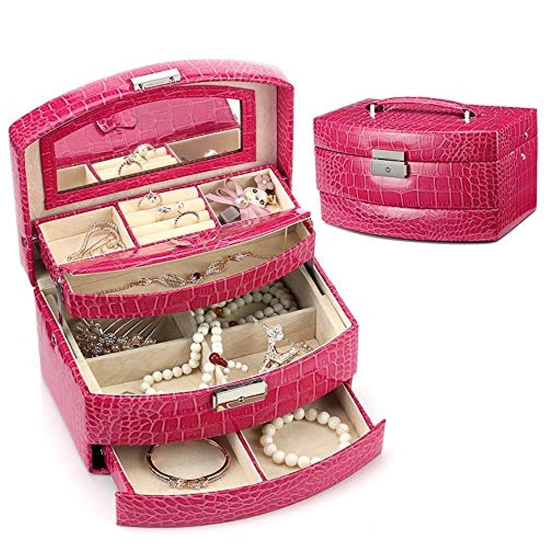 カッタータイトいつでも特大スペース収納ビューティーボックス 美の構造のためそしてジッパーおよび折る皿が付いている女の子の女性旅行そして毎日の貯蔵のための高容量の携帯用化粧品袋 化粧品化粧台 (色 : 赤)