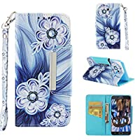 [Galaxy J7 2017] Case, MGVV Leather Folio Flip Case Cover Book Design with Kickstand Feature with Card Slots/Cash Suitable for Samsung Galaxy J7 2017 Blue Flower