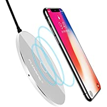 Wireless Charger iPhone X - FLOVEME Utral Slim Qi Wireless Standard Charging Pad for iPhone 8/8 Plus/X, Portable Fast Charge for Samsung Galaxy S8/S8 Plus/S7/S7 Edge/S6 Edge Plus, Note5 and Other Qi-Enabled Devices - Sliver