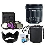 Canon EF - S 10–18mm F / 4.5–5.6is STMレンズfor DSLRカメラ+ 3枚フィルタキット+ソフトレンズポーチ+レンズフード+ 5Pieceク..