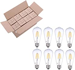 LEDフィラメントタイプ電球 レトロエジソン 光を調え ST19 E26 4.5W 2700K 400LM 360度発光 40W白熱電球に相当 PSE 8個入り (8)