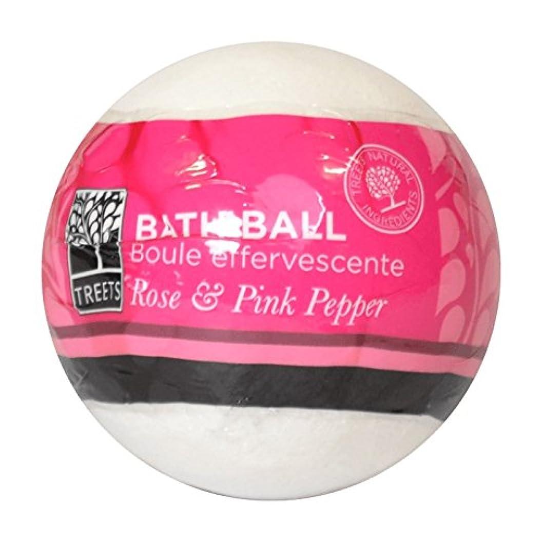 太陽スラダムバーベキューTreets Rose & Pink Pepper Bath Ball 180g (Pack of 2) - Treetsローズ&ピンクペッパーバスボール180グラム (x2) [並行輸入品]