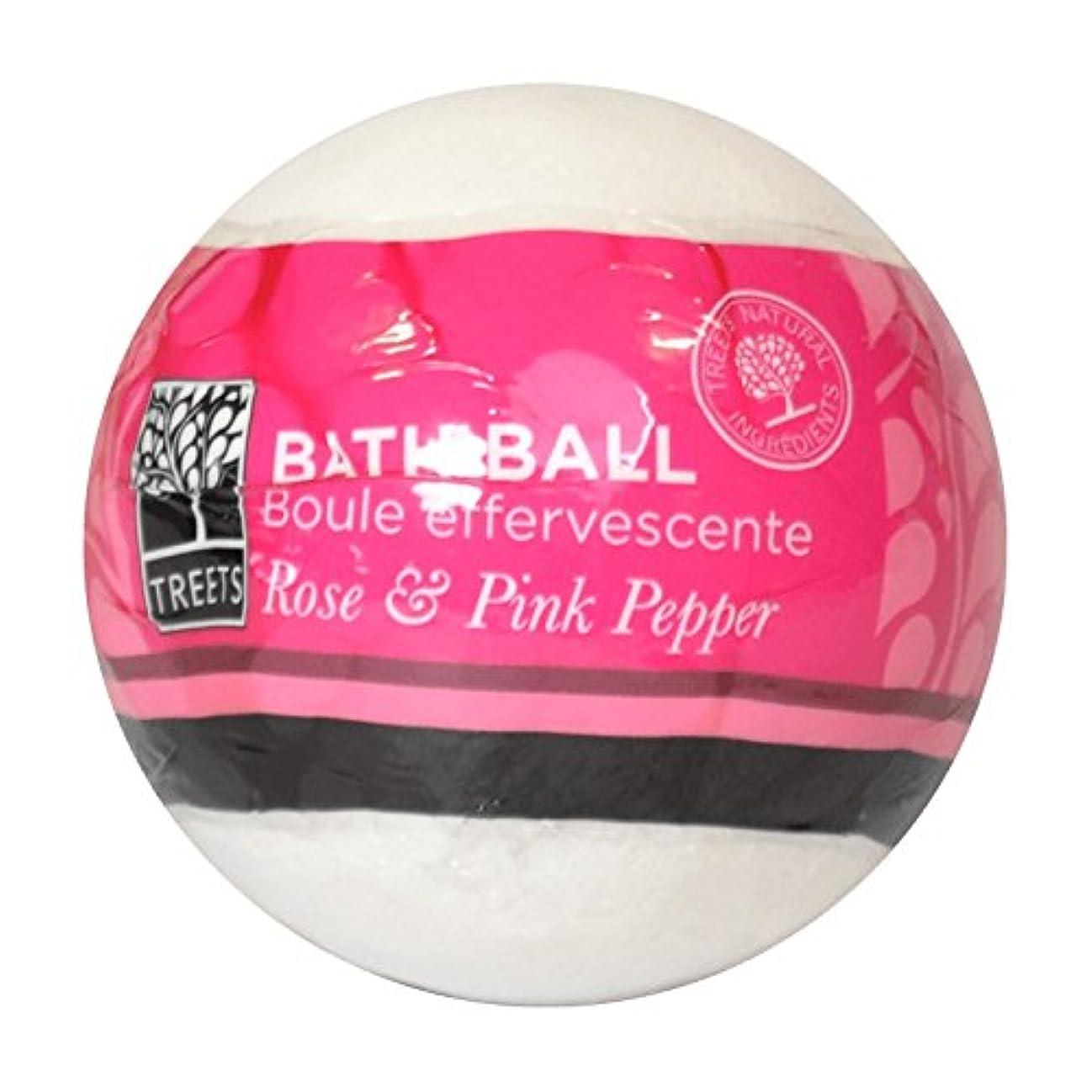 日人柄メッセンジャーTreetsローズ&ピンクペッパーバスボール180グラム - Treets Rose & Pink Pepper Bath Ball 180g (Treets) [並行輸入品]