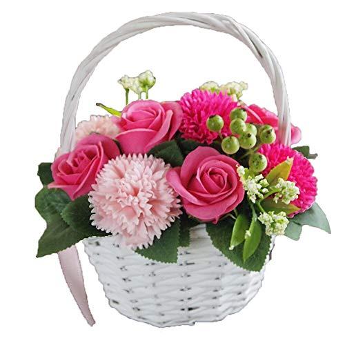 ソープフラワー 花かご ピンク シャボンフラワー 造花 アーティフィシャルフラワー 枯れない 花 誕生日 還暦 お祝い 古希