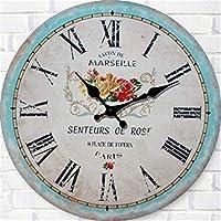 18-AnyzhanTrade ウォールクロックサイレントムーブメントウォールクロックホームオフィスインテリアリビングルームベッドルームとキッチンクロックウォールアンティーク時計 (Color : 12 in)