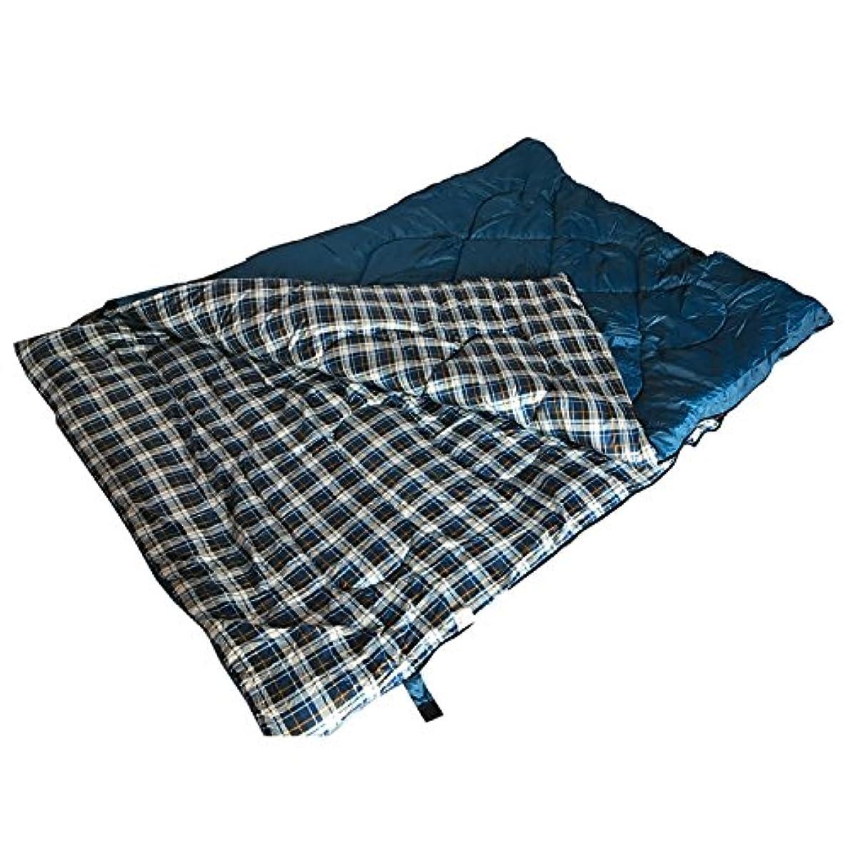 連結する火山学者アスリート雑貨の国のアリス 寝袋 シュラフ スリーピングバッグ 2人用 ダブルサイズ 封筒型 ブルー 表裏分離可能 収納袋付き [並行輸入品]