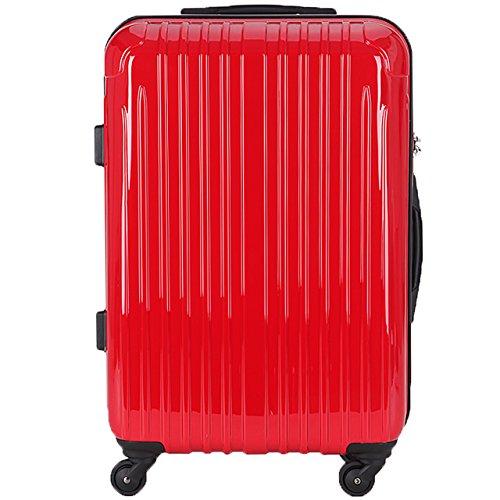 TY001中型(ラッキーパンダ) Luckypanda スーツケース 超軽量 中型 TSAロック 2年修理保証 ファスナータイプ TY001 m ハード 旅行用 キャリーバッグ キャリーケース キャリーバック トランクケース 軽量 Suitcase Luggage(Mサイズ(4~6日の旅行向け), レッド)