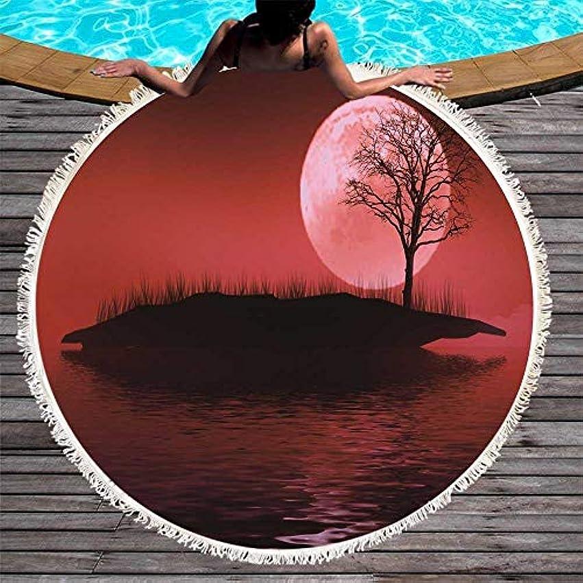 暴徒フルート月ラウンドビーチタオルタッセル毛布マイクロファイバー風景ピクニックマット150 cmでヨガを印刷 (色 : 4, サイズ : 150CM)