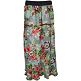 Womens Bohemian Skirt Gypsy Flowy Flower Printed Rayon Maxi Skirts Large
