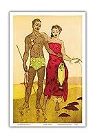 フィッシャーマンハワイ - ロイヤル・ハワイアン・ホテル(太平洋のピンクパレス)のメニューカバー - ビンテージカラーのアクアチントエッチング によって作成された ジョン・メルヴィル・ケリー c.1940s - アートポスター - 23cm x 31cm