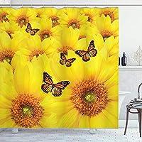 Assanu 上記の別の蝶ひまわり暖かい色クローズアップ詳細デザイン興味深いポリエステル繊維浴室パターン装飾部屋の装飾ホームシャワーカーテンオレンジイエローをきれいに簡単