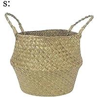 天然の海草編みのハンドバッグ 収納かご 田園風のかご 植物花鉢 手編み花鉢
