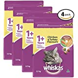 WHISKAS 1+ Years Chicken and Turkey Dry Cat Food 2.5kg Bag, 4 Pack