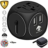 SZROBOY Travel Adapter,Universal Travel Adapter,2 USB Small Travel Addapter Plug with 2.5A High Speed for Your International Business Travel of 200 Countries Like US/EU/UK/ DE/FR/IT/AU/JP(Metal black)