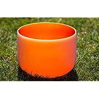 Orange Colored Frosted D Sacral Chakra Quartz Crystal Singing Bowl 10