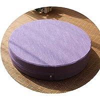 クッション丸い畳綿のリネンアート布団和式洗濯クッション瞑想ヨガマット,ライトパープル,直径50cm厚6cm