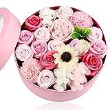 ソープフラワー シャボンフラワー 誕生日 プレゼント 女性 ギフト 母の日 敬老の日 バレンタイン ホワイトデー お返し 結婚記念日 還暦 古希 喜寿 など お祝い フラワーギフト フラワーボックス バラ 薔薇 カーネーション あじさい の お花 フラワーアレンジメント (ピンク)