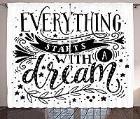 VamJump 黒と白の遮光カーテン垂帘 窗帘 昼夜目隠し 遮像 デコレーション 取り付け簡単、すべてが夢の引用で始まる白黒星の葉とカール、リビングルームの寝室の窓ドレープ、黒と白 2枚組 幅135cm丈230cm