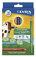 LyraカラージャイアンツHexagonal非毒性図面鉛筆、10mm Dia x 17.5CM L、6.25MMヒント、Assortedマットカラー、12パック