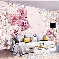 Xbwy カスタム壁紙3Dステレオロマンチックピンクローズパールジュエル背景壁壁画リビングルーム結婚式の家の壁紙壁3 D-350X250Cm