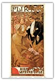 "Flirt、Biscuits lefevre- Utile ; Belle Époque、アールヌーボー、アールデコ;ヴィンテージフランス広告ポスター、"" Les Maitres de l 'affiche "" by Alphonse Mucha c.1899???マスターアートプリント 13"" x 19"" PRTC7058"