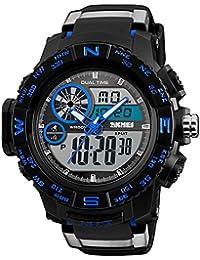 Timever(タイムエバー)アナデジ腕時計 メンズ 防水腕時計 led watch スポーツウォッチ アラーム ストップウォッチ ダブルタイム機能付き 5ATM防水時計 文字が大きくて見やすい (ブルー)