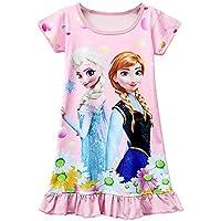 Moebao Girls Frozen Short Sleeve Dress Children's Cartoon Pajamas Pajamas 3-8y