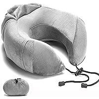 BQZYX+ ネックピロー U型 携帯枕 飛行機 低反発 旅行用 新幹線 折り畳み式 トラベルピロー オフィス ポケット付 昼寝 仮眠 カバー洗濯OK U型まくら (グレー)
