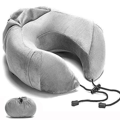 BQZYX+ ネックピロー U型 飛行機 低反発れ 旅行用 新幹線 折り畳ピー式 オフィス ポケット 昼寝 仮眠 カバー洗濯OK U型まくら (グレー)