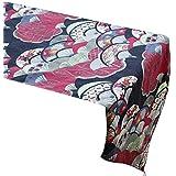 yazi-和風 おしゃれ テーブルランナー 花柄 上品 食卓の飾り付け テーブルセンター ペンダント付き レッド(30cmx180cm)