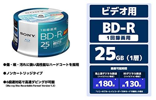 SONY ビデオ用ブルーレイディスク 50BNR1VJPP6(BD-R 1層:6倍速 50枚スピンドル)