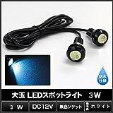RioRand® 大玉 LEDスポットライト 3W 12V専用 防水超高輝度LEDスポットライト埋込型 ホワイト 2本1セット