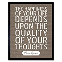 Quote Marcus Aurelius Happiness Quality Thoughts Artwork Framed Wall Art Print 9X7 Inch 見積もり 壁