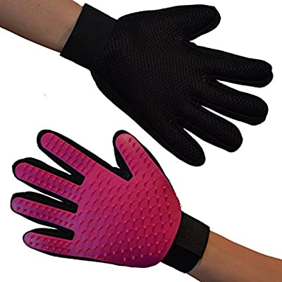 Zenify Pet Fur Grooming Glove - for Dogs, Cats, Rabbits, Horses - Machine Washable Enhanced Efficient Silicon Massage One-Size-Fits-All Gift Hair Deshedding Remover Mitt