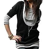 ROZZERMAN レディース カットソー Tシャツ 重ね着風 フード付き 長袖 ロング丈 トップス 春 秋 カジュアル g78 (2XL, ブラック)