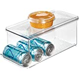 InterDesign Fridge/Freeze Binz Storage Boxes, Plastic Kitchen Storage Container for The Fridge with Space for 9 Drinks Cans, Clear