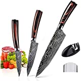 AUSELECT 3-Pack Chef Santoku Knives - Kitchen Knife Set in Gift Box, German Carbon Stainless Steel, Razor Sharp Blades, Anti-