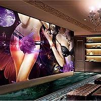 Wuyyii 壁紙カスタム壁紙壁画セクシーな美しさホテルバーナイトショップKtvボックス作業背景壁-280X200Cm