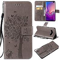 Samsung Galaxy S10 Plusレザーウォレットケース、エンボスフォリオケースフリップスタンドケース、カードスロット付き、Samsung Galaxy S10 Plusのストラップ用カバー ypxpv5649 (Color : Gray)