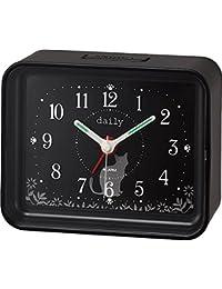 リズム時計 クオーツ 目覚まし時計 アナログ ちょこっとけい 電子音 アラーム 黒 DAILY (デイリー) 4SE555DN02