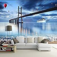 Bzbhart テレビの背景装飾画、壁用ステッカー壁紙写真カスタム3D BackgroundModernニューヨーク市夜景リビングルームテレビの背景壁の装飾壁画3D-300cmx210cm