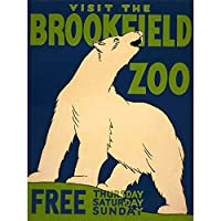CULTURAL ADVERT ZOO POLAR BEAR USA VINTAGE POSTER ART PRINT 12x16 inch 30x40cm 文化広告ポーラくまアメリカ合衆国ビンテージポスターアートプリント