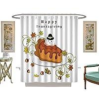 Iuvolux シャワーカーテンコレクション ケーキ付き感謝祭のお祝い 3. ホームアート 絵画 絵 デコレーション W48 x H84 Inch